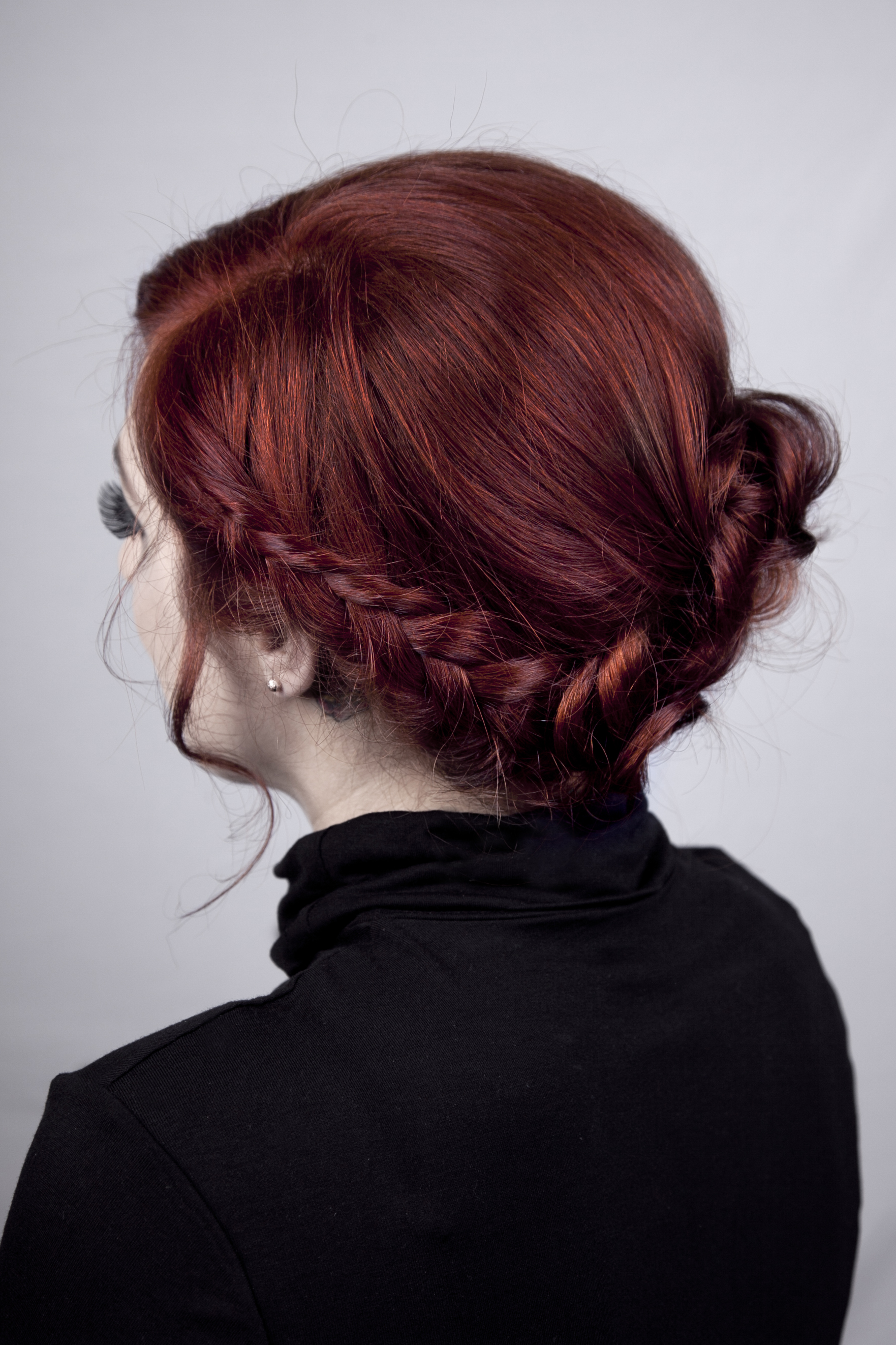 Velvet Rooms side plait hair up do