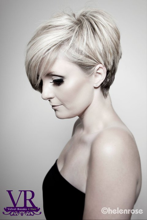 Velvet Rooms modern pixie cut
