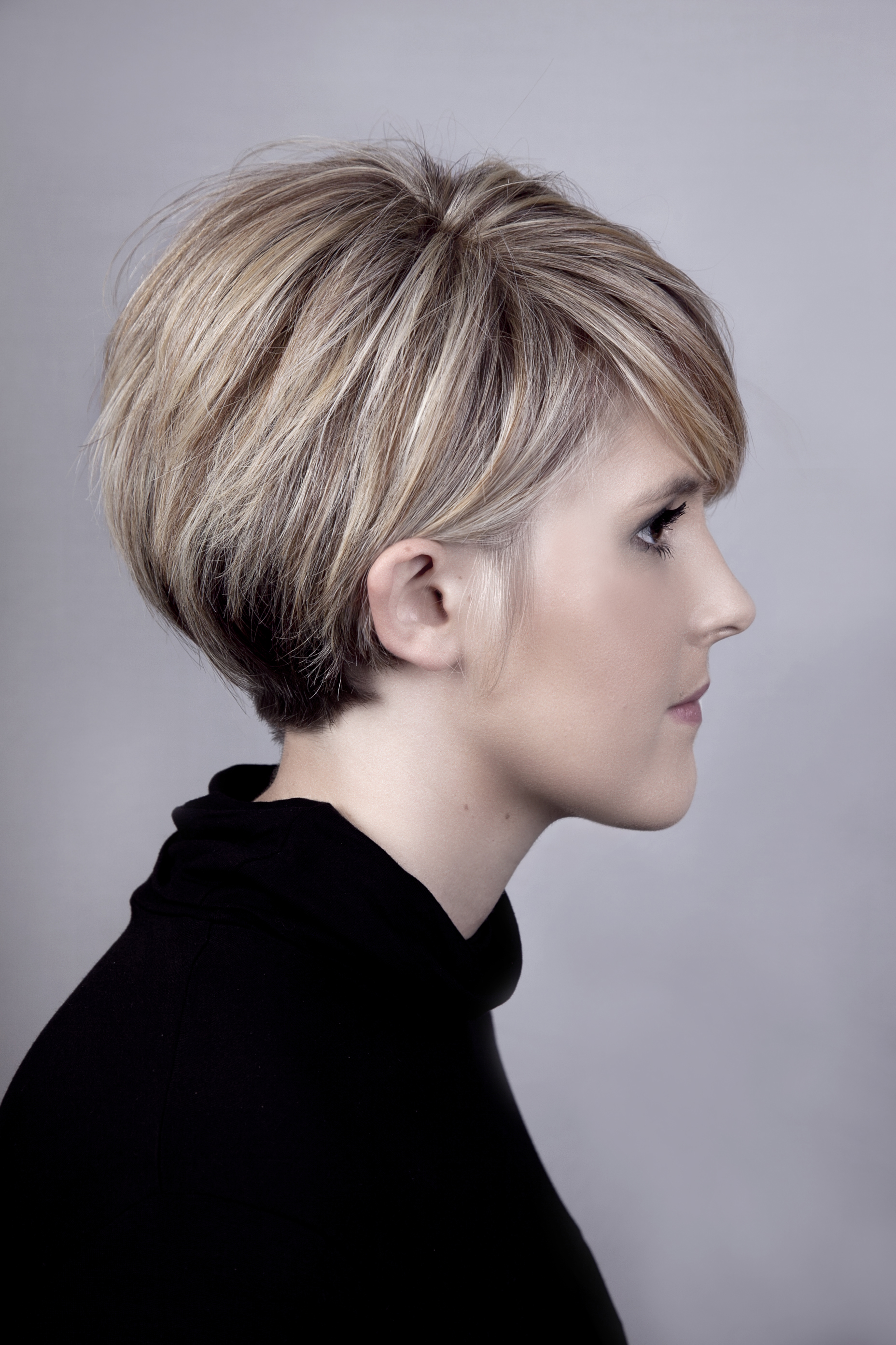 Short blonde hair cut
